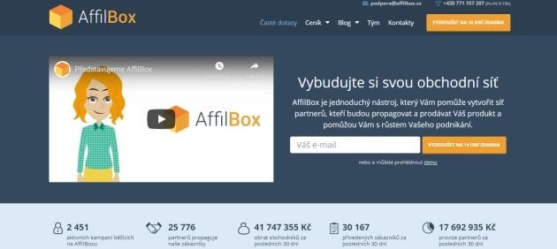 Úvodní stránka Affilbox.cz s videem a návodem, jak začít.
