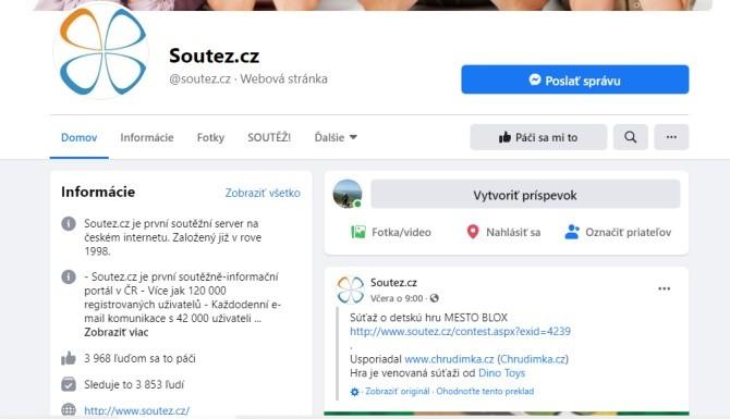 Facebooková stránka Soutez.cz je první soutěžně-informační portál v ČR.