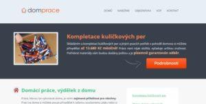 Úvodní stránka portálu dompráce.cz, který údajně nabízí práci z domu.