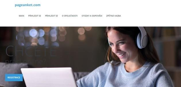 Úvodní stránka portálu pageanket.com.