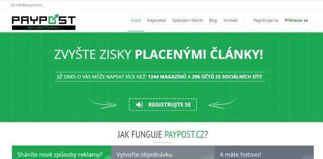 Paypost.cz - zvyšte zisky placenými články.