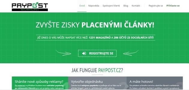 Paypost.cz systém nabízí možnost zvýšit zisky placenými články.