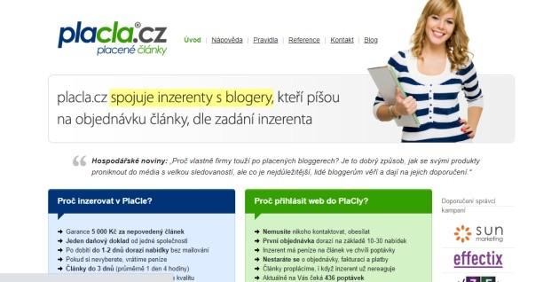 Placla.cz spojuje inzerenty s blogery.
