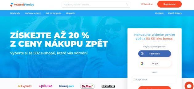 Hlavní stránka portálu vratnepenize.cz.